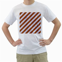 Stripes3 White Marble & Rusted Metal (r) Men s T Shirt (white) (two Sided) by trendistuff