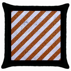 Stripes3 White Marble & Rusted Metal (r) Throw Pillow Case (black) by trendistuff