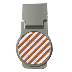 Stripes3 White Marble & Rusted Metal (r) Money Clips (round)  by trendistuff