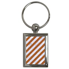 Stripes3 White Marble & Rusted Metal (r) Key Chains (rectangle)  by trendistuff