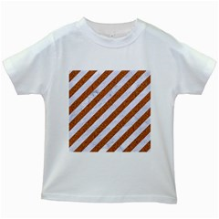 Stripes3 White Marble & Rusted Metal (r) Kids White T Shirts by trendistuff
