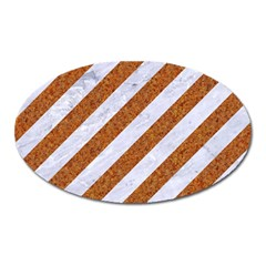Stripes3 White Marble & Rusted Metal (r) Oval Magnet by trendistuff