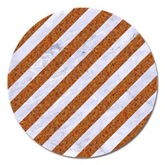 Stripes3 White Marble & Rusted Metal (r) Magnet 5  (round) by trendistuff
