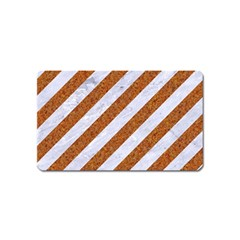 Stripes3 White Marble & Rusted Metal (r) Magnet (name Card) by trendistuff
