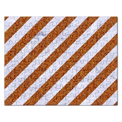 Stripes3 White Marble & Rusted Metal (r) Rectangular Jigsaw Puzzl by trendistuff
