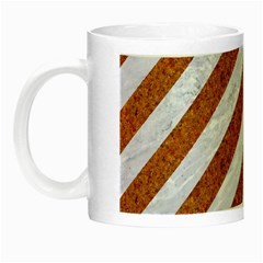 Stripes3 White Marble & Rusted Metal (r) Night Luminous Mugs by trendistuff