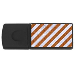 Stripes3 White Marble & Rusted Metal (r) Rectangular Usb Flash Drive by trendistuff
