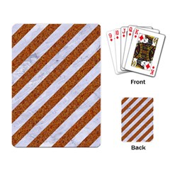 Stripes3 White Marble & Rusted Metal (r) Playing Card by trendistuff