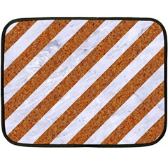 Stripes3 White Marble & Rusted Metal (r) Double Sided Fleece Blanket (mini)  by trendistuff