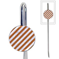 Stripes3 White Marble & Rusted Metal (r) Book Mark by trendistuff