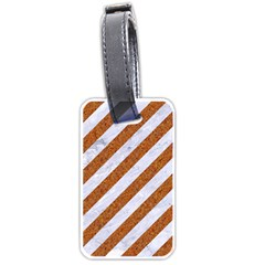 Stripes3 White Marble & Rusted Metal (r) Luggage Tags (two Sides) by trendistuff