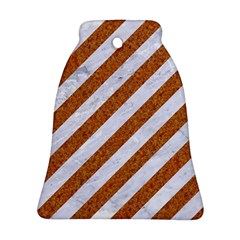 Stripes3 White Marble & Rusted Metal (r) Bell Ornament (two Sides) by trendistuff