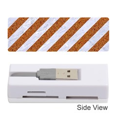 Stripes3 White Marble & Rusted Metal (r) Memory Card Reader (stick)  by trendistuff