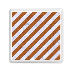 Stripes3 White Marble & Rusted Metal (r) Memory Card Reader (square)  by trendistuff