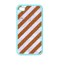 Stripes3 White Marble & Rusted Metal (r) Apple Iphone 4 Case (color) by trendistuff