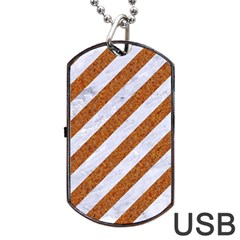 Stripes3 White Marble & Rusted Metal (r) Dog Tag Usb Flash (one Side) by trendistuff