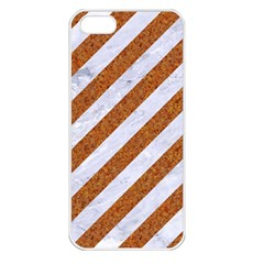Stripes3 White Marble & Rusted Metal (r) Apple Iphone 5 Seamless Case (white) by trendistuff