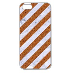 Stripes3 White Marble & Rusted Metal (r) Apple Seamless Iphone 5 Case (clear) by trendistuff