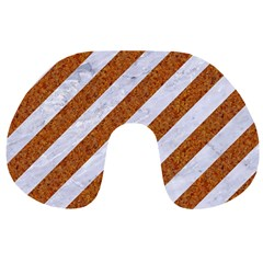 Stripes3 White Marble & Rusted Metal (r) Travel Neck Pillows by trendistuff