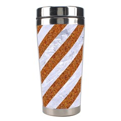 Stripes3 White Marble & Rusted Metal (r) Stainless Steel Travel Tumblers by trendistuff