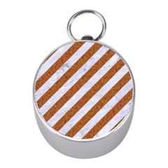 Stripes3 White Marble & Rusted Metal (r) Mini Silver Compasses by trendistuff