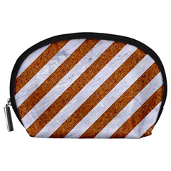Stripes3 White Marble & Rusted Metal (r) Accessory Pouches (large)  by trendistuff