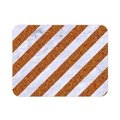 Stripes3 White Marble & Rusted Metal (r) Double Sided Flano Blanket (mini)  by trendistuff