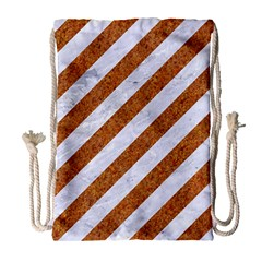 Stripes3 White Marble & Rusted Metal (r) Drawstring Bag (large) by trendistuff