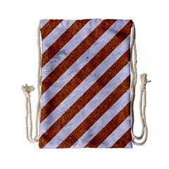 Stripes3 White Marble & Rusted Metal (r) Drawstring Bag (small) by trendistuff