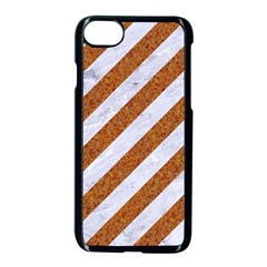Stripes3 White Marble & Rusted Metal (r) Apple Iphone 7 Seamless Case (black) by trendistuff