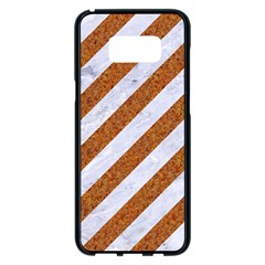 Stripes3 White Marble & Rusted Metal (r) Samsung Galaxy S8 Plus Black Seamless Case by trendistuff