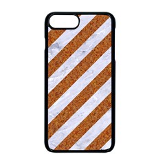 Stripes3 White Marble & Rusted Metal (r) Apple Iphone 8 Plus Seamless Case (black) by trendistuff
