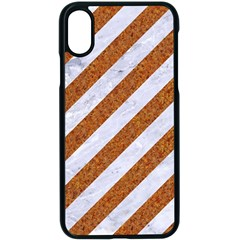 Stripes3 White Marble & Rusted Metal (r) Apple Iphone X Seamless Case (black) by trendistuff