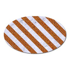 Stripes3 White Marble & Rusted Metal Oval Magnet by trendistuff