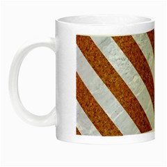 Stripes3 White Marble & Rusted Metal Night Luminous Mugs by trendistuff