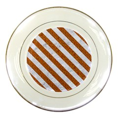 Stripes3 White Marble & Rusted Metal Porcelain Plates by trendistuff