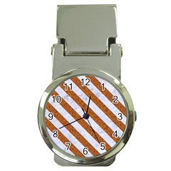 Stripes3 White Marble & Rusted Metal Money Clip Watches by trendistuff