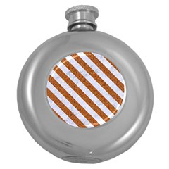 Stripes3 White Marble & Rusted Metal Round Hip Flask (5 Oz) by trendistuff
