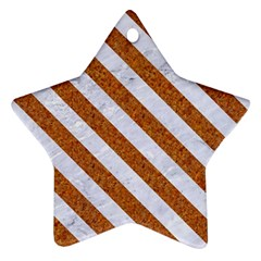 Stripes3 White Marble & Rusted Metal Star Ornament (two Sides) by trendistuff