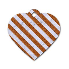 Stripes3 White Marble & Rusted Metal Dog Tag Heart (two Sides) by trendistuff
