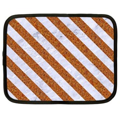 Stripes3 White Marble & Rusted Metal Netbook Case (large) by trendistuff