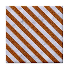 Stripes3 White Marble & Rusted Metal Face Towel by trendistuff
