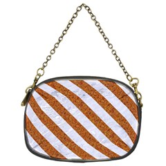Stripes3 White Marble & Rusted Metal Chain Purses (two Sides)  by trendistuff