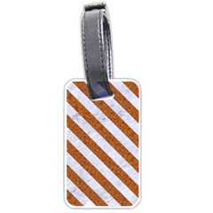 Stripes3 White Marble & Rusted Metal Luggage Tags (one Side)  by trendistuff