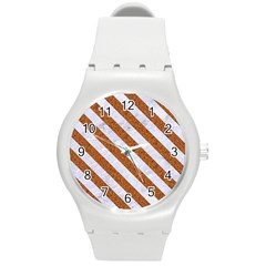 Stripes3 White Marble & Rusted Metal Round Plastic Sport Watch (m) by trendistuff