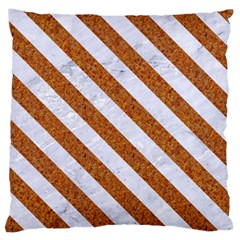 Stripes3 White Marble & Rusted Metal Large Cushion Case (one Side) by trendistuff