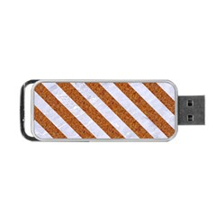 Stripes3 White Marble & Rusted Metal Portable Usb Flash (two Sides) by trendistuff