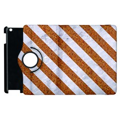 Stripes3 White Marble & Rusted Metal Apple Ipad 2 Flip 360 Case by trendistuff