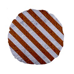 Stripes3 White Marble & Rusted Metal Standard 15  Premium Round Cushions by trendistuff