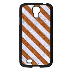 Stripes3 White Marble & Rusted Metal Samsung Galaxy S4 I9500/ I9505 Case (black) by trendistuff